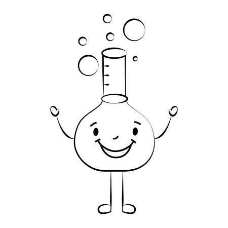 happy cartoon school test tube character vector illustration sketch Çizim