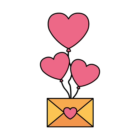 flying envelope message heart valentine day vector illustration