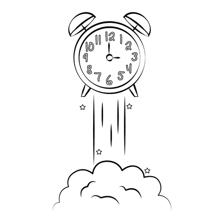 alarm clock launching back to school vector illustration sketch
