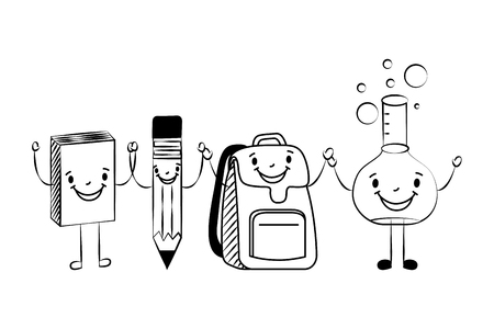 cartoon school book pencil bag and test tube character vector illustration sketch