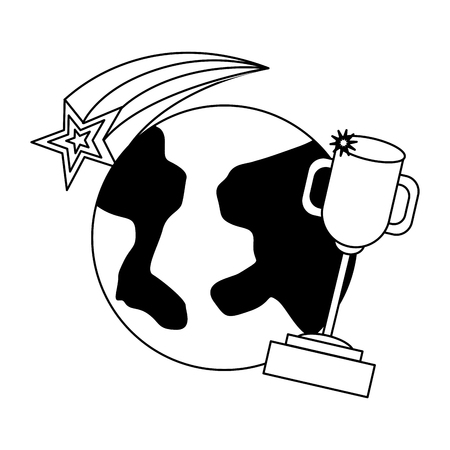 world trophy star back to school vector illustration sketch