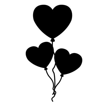 pink balloons hearts valentine day vector illustration