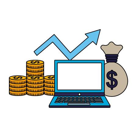 business laptop money bag arrow growth vector illustration