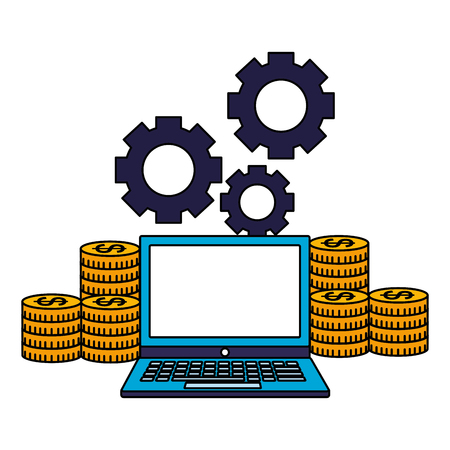 business laptop stack coins money gears vector illustration