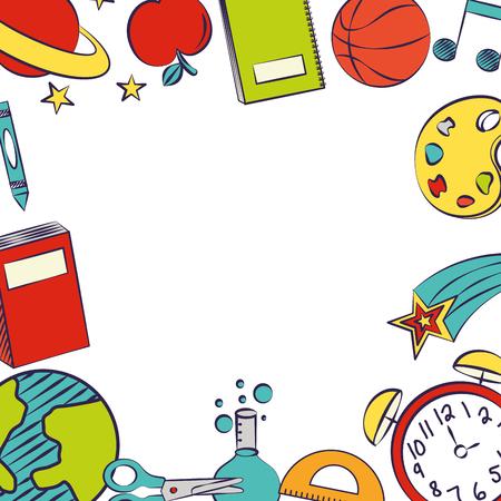 alarm clock launching back to school vector illustration