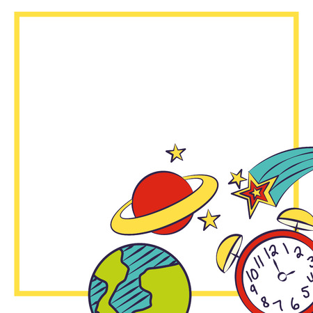 clock world planet back to school vector illustration Çizim