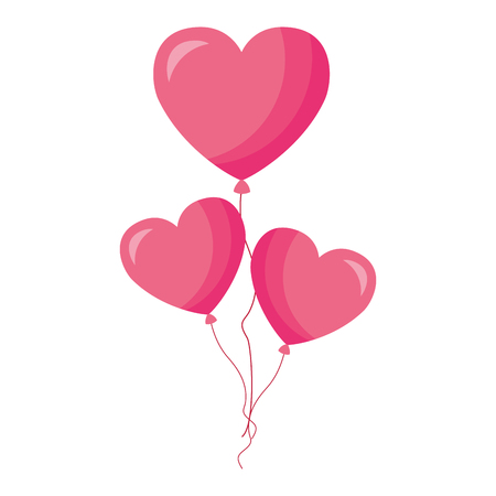 pink balloons hearts valentine day vector illustration