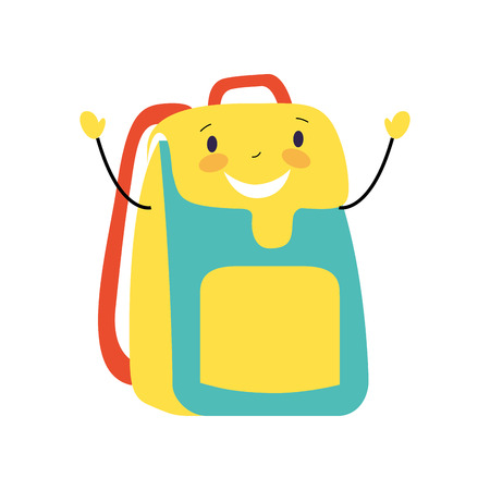 happy cartoon school backpack character vector illustration Иллюстрация