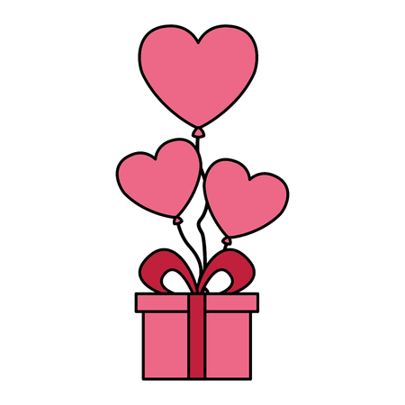 gift balloons hearts love valentine day vector illustration 写真素材 - 126465567
