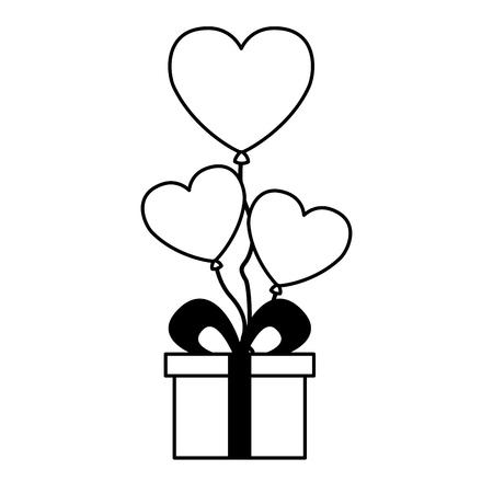 gift balloons hearts love valentine day vector illustration Zdjęcie Seryjne - 126465579