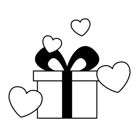 gift hearts love valentine day vector illustration
