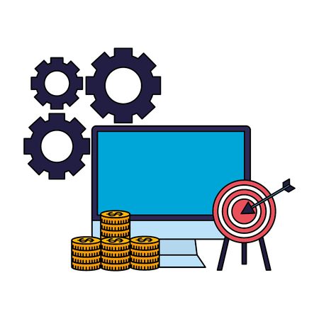 business computer target money coins vector illustration