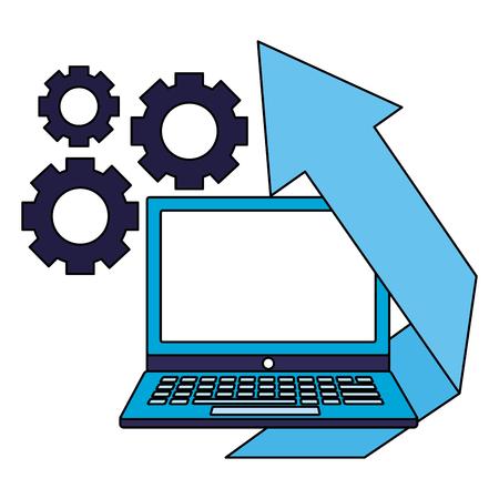 business laptop financial arrow gears vector illustration