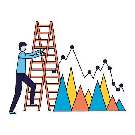 business man climb stairs chart report vector illustration