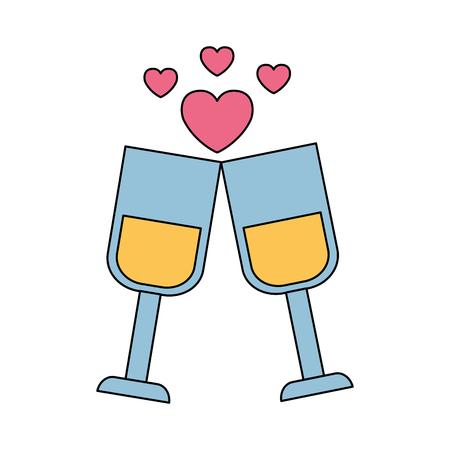valentine day card champagne cups love celebration vector illustration Illustration