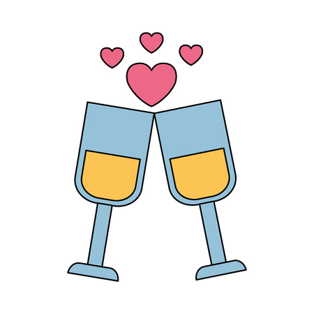 valentine day card champagne cups love celebration vector illustration