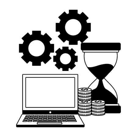 business laptop hourglass coins money gears vector illustration