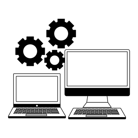 business laptop computer and gears vector illustration Illusztráció