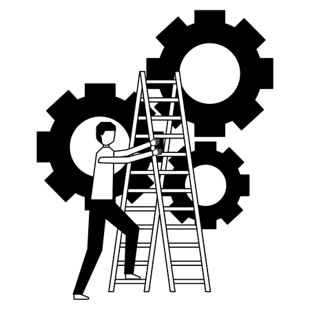 business man climb stairs gears work vector illustration