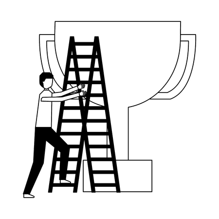 business man climb stairs and trophy vector illustration Archivio Fotografico - 126465637