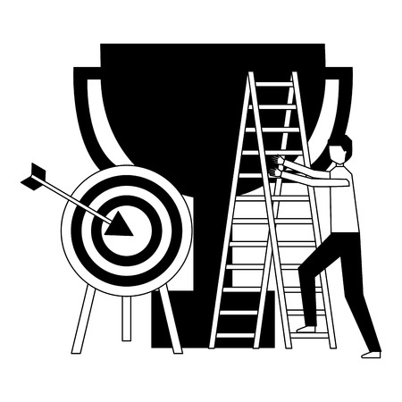 business man climb staris and target trophy vector illustration