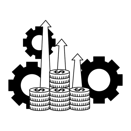 business coins money arrows profit and gears vector illustration