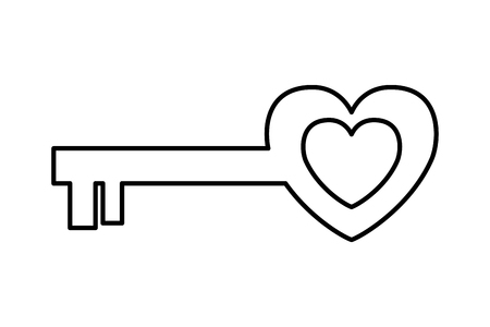 heart key love valentine day card vector illustration Illustration