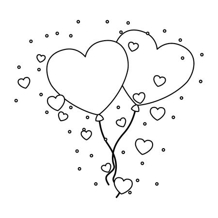 valentine day card flying hearts balloons love vector illustration Stock Vector - 114653954