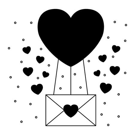valentine day card balloon message love hearts vector illustration Stock Vector - 114653956