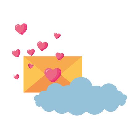 valentine day card envelope message hearts cloud vector illustration Stockfoto - 126465667
