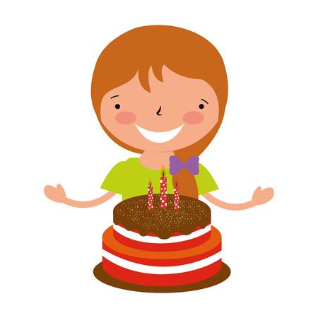 fille heureuse avec illustration vectorielle de gâteau d'anniversaire Vecteurs