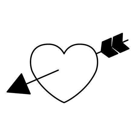 valentine day card love heart pierced arrow vector illustration
