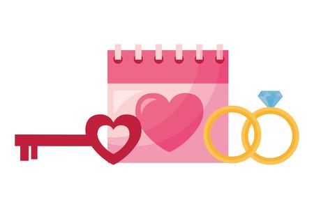 valentine day card calendar key heart and rings vector illustration Foto de archivo - 126465678