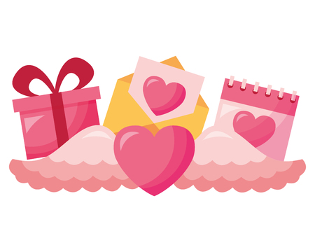 valentine day heart with wings gift envelope and calendar vector illustration