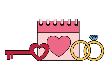 valentine day card calendar key heart and rings vector illustration Foto de archivo - 126465704
