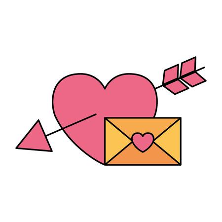 valentine day card envelope message and heart arrow vector illustration Standard-Bild - 126465713
