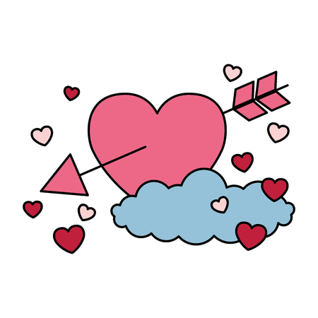 valentine day card heart arrow hearts cloud vector illustration