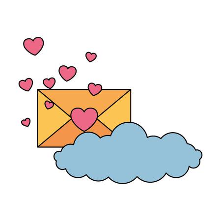 valentine day card envelope message hearts cloud vector illustration Stockfoto - 126465721