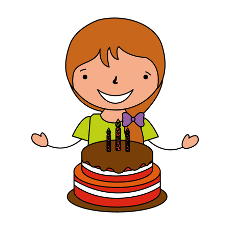 happy girl with birthday cake vector illustration Illustration