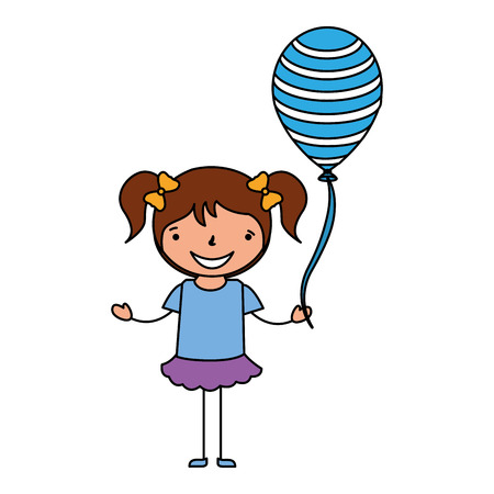 happy young girl with balloon vector illustration Çizim