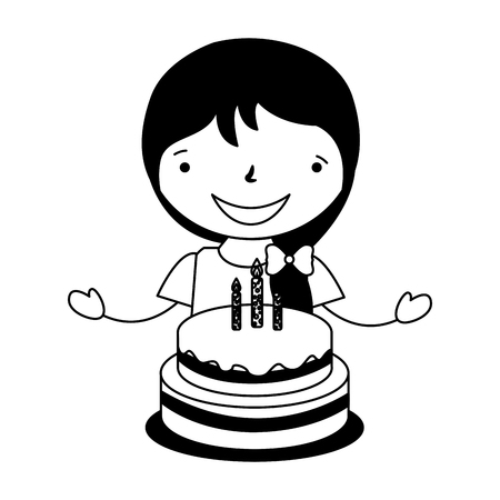 happy girl with birthday cake vector illustration Stock Vector - 126465728