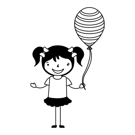 happy young girl with balloon vector illustration Ilustração