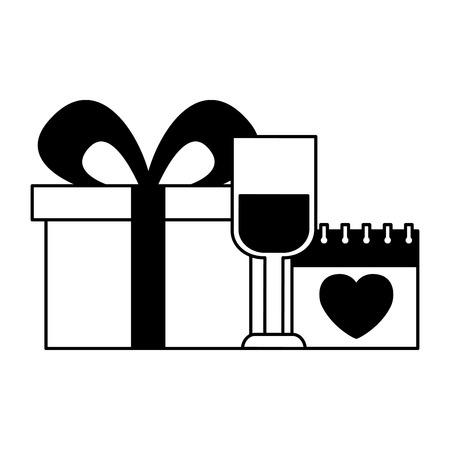 valentine day card champagne cup gift and calendar vector illustration Standard-Bild - 126465732