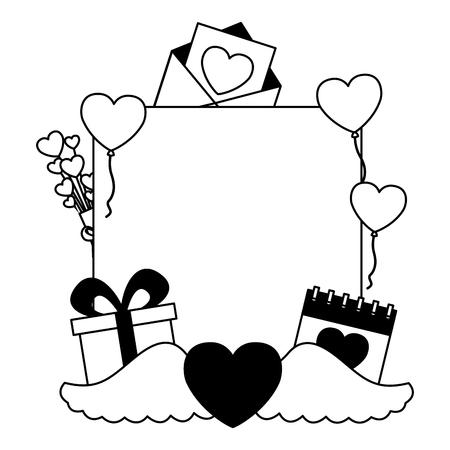 valentine day frame gift calendar heart wings balloons vector illustration