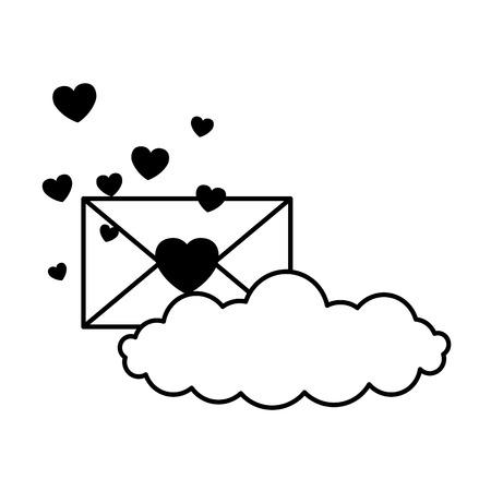 valentine day card envelope message hearts cloud vector illustration