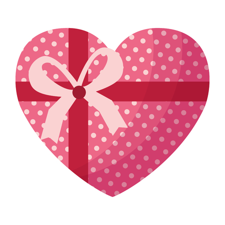 wrapped heart love ribbon valentine day vector illustration  イラスト・ベクター素材