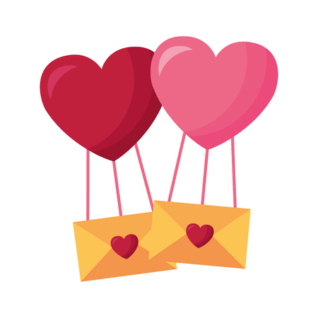 hearts balloon with message envelopes valentine day vector illustration