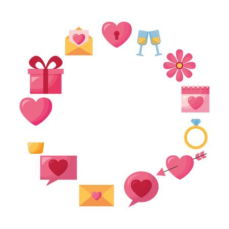 valentine day frame gift message heart flower arrow balloon vector illustration