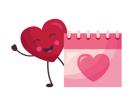 heart with calendar valentine day vector illustration