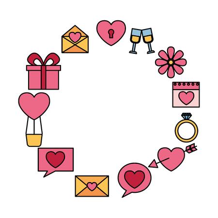 valentine day frame gift message heart flower arrow balloon vector illustration Standard-Bild - 114677964